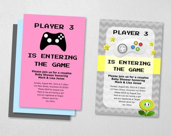 Video Game Invitation - Baby Shower - Instant digital file download - use for photo prints or card stock - Super Mario Brothers Gamers