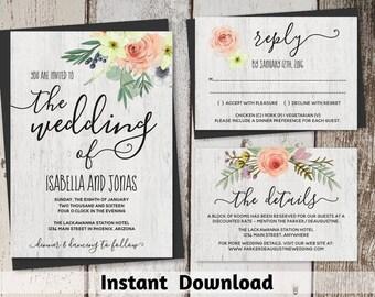 Rustic Blush Floral Wedding Invitation Template - Printable Bohemian Blush Flowers Set - Boho, Wood | Instant Download Digital File Suite