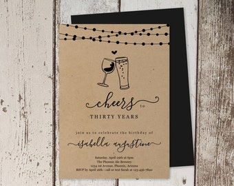 Wine & Brews Birthday Invitation Template, Cheers Beers Party Invite Instant Download Digital File Kraft Paper  30th 30 40th 40 50th 50 Year