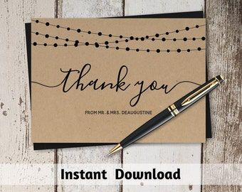 Printable Wedding Thank You Card Template - Rustic String Lights & Calligraphy on Kraft Paper | Editable DIY PDF Instant Download