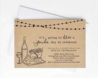 Cheese Theme Bridal Shower Invitation Template, Printable Wine Tasting Bachelorette Party Invite Evite Rustic, Instant Download Digital File