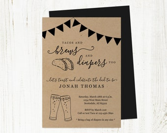Tacos and Brews Diaper Too Invitation Template, Printable Daddy Guy Men Mexican Baby Shower Party Invite Evite Instant Download Digital File