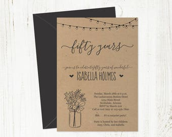 Printable Fall Birthday Invitation Template for Women / Woman Rustic Kraft Leaf Download 16th 21st 30th 40th 50th 60th 70th 80th 90th 100th