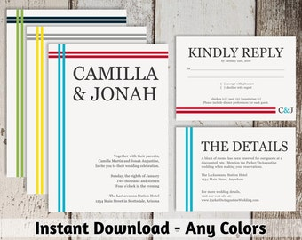 Wedding Invitation Template - Modern & Simple Printable Set - 100% Editable - MS Word Doc or Mac Pages - Instant Download Digital File Suite