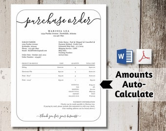 Printable Purchase Order Form Template - NO COLOR INK - Word, pdf Download -  Business, Photographer Photography Simple Customer Sales Form