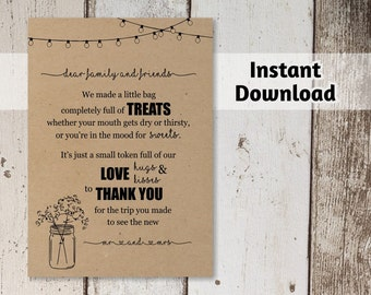 Printable Out of Town Guest Thank You Card Template - Rustic Mason Jar, Fairy light & Kraft Paper | Basket Tag Instant Download Digital File