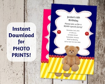 Bear Invitation for Build a Bear Birthday Party - Instant download digital file - Use to order photo prints! (Printable on card stock, too!)
