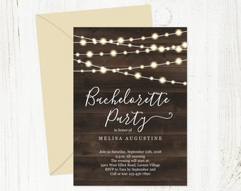 Rustic Bachelorette Party Invitation Template - Printable Hen Party Invite - Twinkle Fairy Lights, Wood - Instant Download Digital File PDF