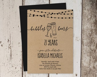 Bubbles & Beers 21st Birthday Invitation Template, Brewery Party Invite Instant Download Digital File, Kraft Paper, 21 30th 30 40th 40 Year