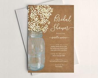 Rustic Bridal Shower Invitation Template - Printable Unique Floral Baby Breath Mason Jar Wedding Invite - Kraft Paper Instant Download File