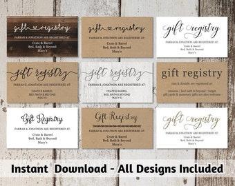 Printable Wedding Registry Card Template | Printable Rustic / Hearts / Boho Arrow on Kraft Paper | Editable DIY PDF Instant Download