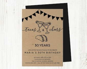 Tacos & Tequila Birthday Invitation Template, Printable Adult Margarita Mexican Party Invite Instant Download, 30th 30 40th 40 50th 50 Year