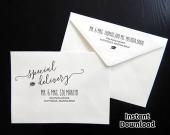 Graduation Party Envelope Template - Printable Address Template - Rustic Calligraphy - Instant Download Digital File Editable PDF - A7 & A6