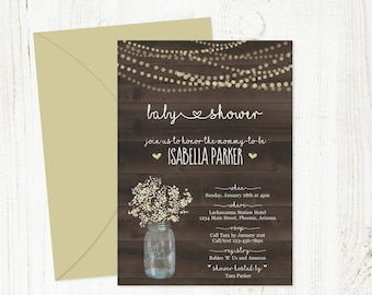 Printable Rustic Baby Shower Invitation Template - Boy, Girl, Neutral - Mason Jar, Baby Breath, Lights, Wood | Instant Download Digital File
