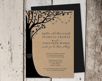 Rustic Tree Wedding Invitation Template - Carved Initials & Heart on Wood with String Fairy Lights - Printable Instant Download Digital File