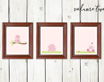 Girls Safari Animals Nursery Wall Art - Printable Baby Shower Gift - Tiger. Elephant, Zebra Prints - Instant Download Digital File JPG & PDF