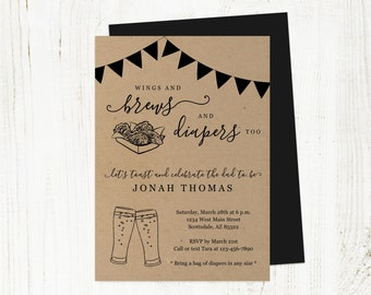 Wings and Brews Diapers Too Invitation Template, Printable Daddy Guy Men Baby Shower Party Invite Evite Instant Download Digital File PDF