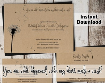Wedding Invitation Template - Dandelion Wishes | Rustic Printable Set - Kraft Paper | Easy Editable PDF Instant Download Suite | Love Quote