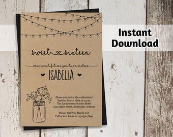 Printable Sweet 16 Invitation Template - Rustic Sweet Sixteen Mason Jar, Fairy Lights, Kraft Paper - Instant Download PDF File - Printed