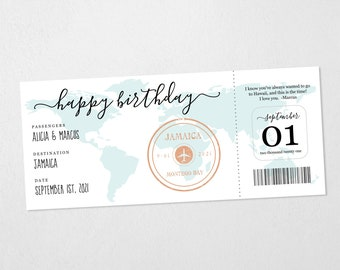 Boarding Pass Ticket Birthday Gift Template, Printable Card, Surprise Flight, Plane Trip, Holiday, Vacation, Instant Download Digital File