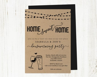 Wine & Beer Housewarming Invitation Template, Printable Funny House Warming Party, Home Sweet Home Invite, Kraft Instant Download File PDF