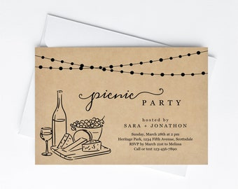 Picnic Invitation Template, Rustic Wine Tasting Picnic in the Park Party for Friends, Invite & Evite Instant Download Digital File Backyard