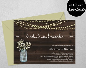Bridal Brunch Invitation Template - Rustic Wood, Fairy Lights, Mason Jar, Bridal Shower Invite - Printable Instant Download Digital File PDF