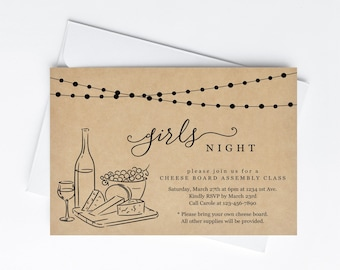 Girls' Night Invitation Template, Rustic Wine Tasting and Cheese Board Party Kraft Paper, Invite & Evite Instant Download Digital File