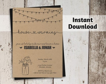 housewarming party invitation printable template rustic mason jar on kraft paper easy editable diy pdf instant download digital file