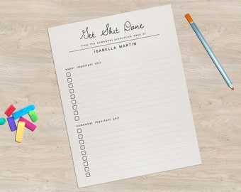 Editable Printable Get Shit Done Stationery Template - Funny To Do List Fun Progress Journal Task Paper - PDF Instant Download Digital File