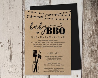 Baby Sprinkle BBQ Invitation Template, Printable Gender Neutral Couple's Baby Q Barbeque Barbecue Party Invite, Instant Download File PDF