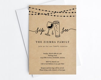 Funny Family Reunion Invitation Template, Printable Wine / Beer Sip and See Party Invite & Evite, Fun Instant Download Digital File DIY PDF