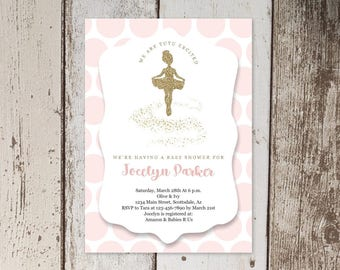 Printable Ballet Baby Shower Invitation Template, Girl Ballerina Tutu Cute Theme, Pink & Gold Glitter, Instant Download Digital File PDF