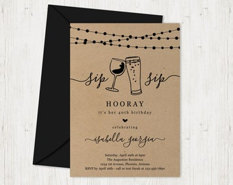 Sip Sip Hooray Birthday Party Invitation Template, Wine Beer Invite Instant Download Digital File Kraft Paper  30th 30 40th 40 50th 50 Year