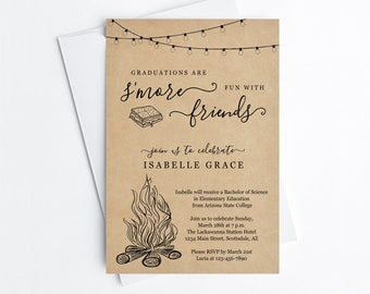 Smore Graduation Party Invitation Template, Boy Girl Preschool Kindergarten 8th Grade Backyard Bonfire Editable Invite Evite Download File