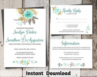 Wedding Invitation Template - Printable Set | Rustic Mint Green / Seafoam & Gold Glitter Flowers | Editable PDF Instant Download Suite