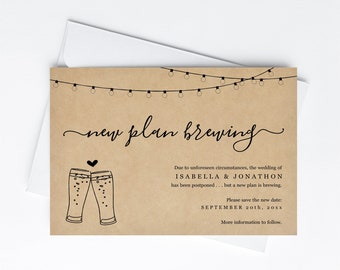 New Plan Brewing Postponement Announcement Save the Date Card Printable Template Funny Fun Date Change Brewery Instant Download Digital File