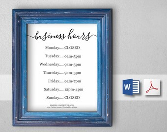 Business Hours Sign, Printable Template, Hours of Operation - Holiday, Office, Store, Open Hours, PDF Word DIY Instant Download Digital File