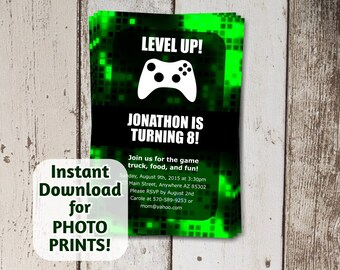 Video Game Invitation for Birthday Party - Instant digital file download - use for photo prints or card stock - Green Truck Gamers Xbox
