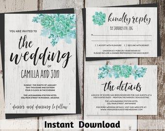 Watercolor Succulent Wedding Invitation Template - Printable Cactus Wedding Invitation Set - Rustic Wood Instant Download Digital File Suite