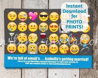 Bachelorette Party Invitation - Emoji Bachelorette Printable Digital File Instant Download - Smiley Invite - DIY Photo prints or card stock