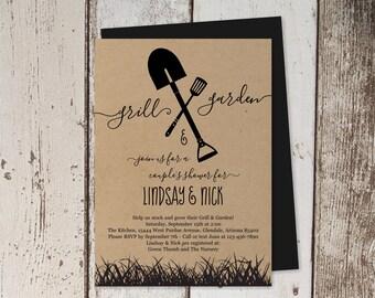 Grill & Garden Bridal / Couple's Shower Invitation Template, Printable BBQ Lawn Tool Honey Do Invite, Kraft Instant Download Digital File