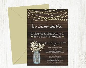 Rustic Gender Reveal Invitation Template - Printable Gender Reveal Party Invite - Mason Jar, Light, Wood - PDF Instant Download Digital File