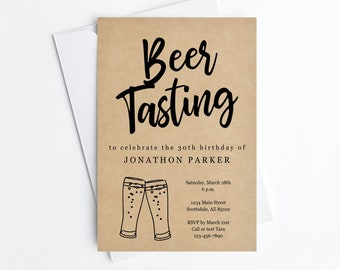 Beer Tasting Invitation Template, Printable Brewery Birthday Engagement Bachelor Party Invite & Evite, Instant Download Digital File DIY PDF
