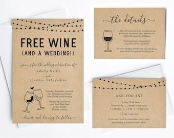 Funny Wedding Invitation Template - Free Wine Fun Winery Printable Set - Rustic Kraft Paper, Instant Download Digital File PDF Suite, Lights