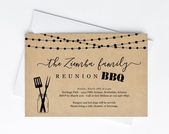 Family Reunion BBQ Invitation Template, Printable Barbeque Barbecue Party Invite Evite, Rustic Kraft Paper Instant Download Digital File PDF