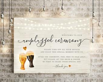 Beer Toast Unplugged Ceremony Sign - Printable DIY Brewery Wedding Poster - Rustic Cheers Light Wood - PDF JPG Instant Download Digital File