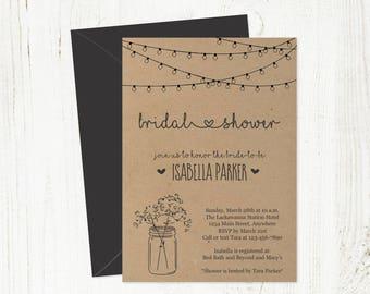 Printable Bridal Shower Invitation Template - Rustic Floral Baby Breath Mason Jar Fairy Lights Wedding - Kraft Paper Instant Download PDF
