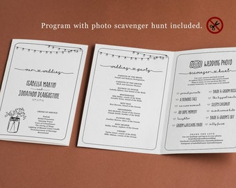 Photo Scavenger Hunt Wedding Program Template, Printable Half Fold Booklet, Rustic Fun Unique Funny, Editable Instant Download Digital File