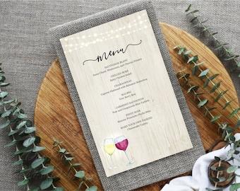 Printable Wine Menu Template, Wine Bar Menu, Wine Tasting, Winery, Rustic Wood Background, Fairy Light, PDF Instant Download Digital File